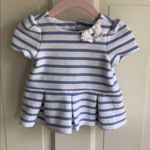 Janie & Jack Blue and White Striped Shirt with Bow
